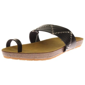 Roxy Womens Belen Faux Leather Flat Slide Sandals