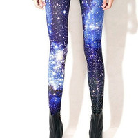 Universe Galaxy Blue Printed Leggings