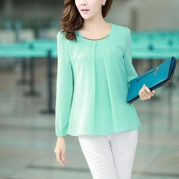 Hot Sale Spring  Fashion Candy Color Women Blouses Long Sleeve Chiffon Blouse Casual Shirt Top Plus Size Clothing S-4XL = 1958657476
