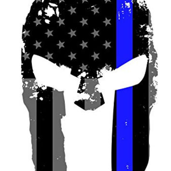 Tattered Spartan Helmet US Flag Subdued Molon Labe Reflective Decal with Thin Blue Line