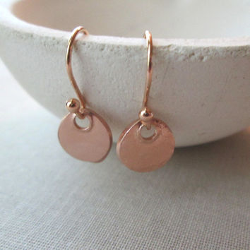Rose Gold Earrings / Simple Pink Gold Coin Earrings /Rustic Everyday Rose Gold Earrings / Petite Disc Dangles / Rose Gold Bronze