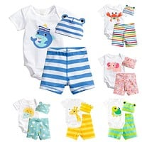 3Pcs Baby Girls Clothing Sets Summer Baby Rompers Short Sleeve Baby Boy Clothes Newborn Baby Clothes Roupas Infant Jumpsuits