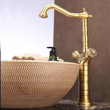 Modern Flower Carved Antique Brass Bathroom Basin Faucet Solid Brass Vanity Sink Mixer Tap Deck Mounted