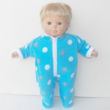 "BITTY BABY PAJAMAS, blue, grey, and white polka dot polar fleece, pajamas, handmade clothes, for 15"" bitty baby doll"