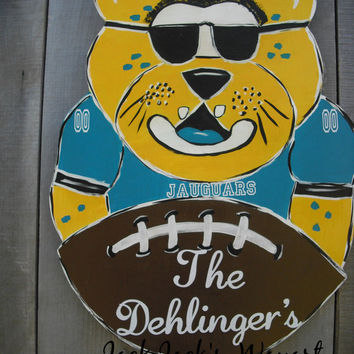 Jacksonville Jaguars door art Football door hanger Sports door art College mascot door hanger Custom designed door art © Jack Jack's Wayart