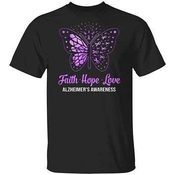 Faith Hope Love Purple Butterfly Alzheimer's Awareness