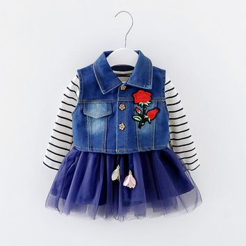 baby girl dresses suit full sleeve spring Autumn Princess cotton dress + denim vest Children Clothing Kids Clothes for girl 5T