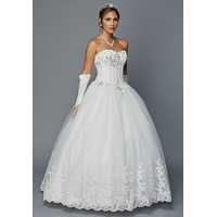 Juliet 352 Jewel Bodice Strapless Ball Gown Wedding Dress Ivory
