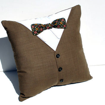 Recycled Men's Suit and Bow Tie Pillow - YellowBugBoutique