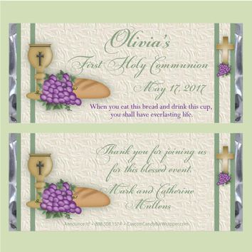 Grapes First Communion Candy Bar Wrapper