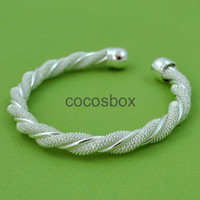 silver twisted bracelet, twisted bangle, holiday gift idea, christmas gifts for her, silver Mesh Bangle Bracelet
