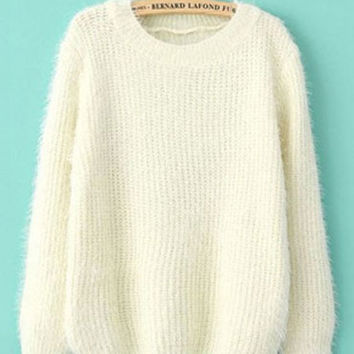 White Bat Sleeve Loose Knit Sweater