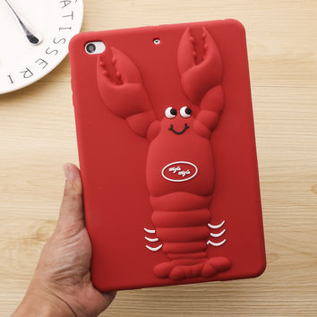 Cute Lovely lobster 3D Cover For IPAD Mini 1 2 3 Soft Silicone Case For IPAD Mini 4 ipad air air2 ipad 2 3 4 Cover Gift