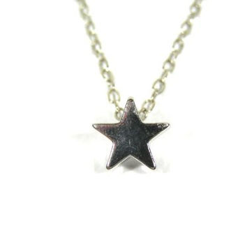 Petite Star Necklace Little Charm Silver Tone NE26 Simple Dainty Statement Pendant Fashion Jewelry