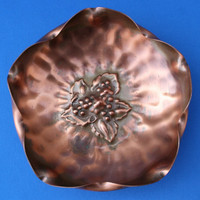 Gregorian Copper 313 Bowl Leaves and Berries Design with Pedestal Foot