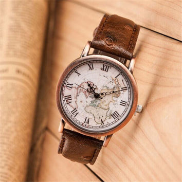 Fashion Women Vintage Style World Map Casual Sports Leather Watch