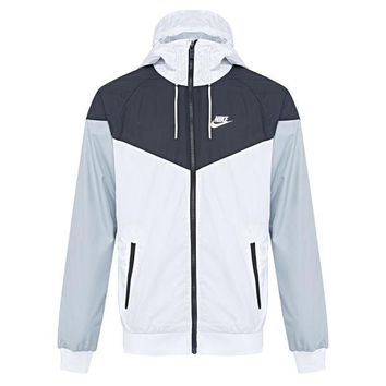 """NIKE""Fashion Hooded Zipper Cardigan Sweatshirt Jacket Coat Windbreaker Sportswear Black&white(grey sleeve)"