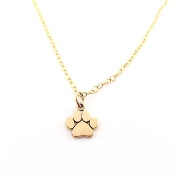 Paw Print Gold Charm Necklace - Dainty 14k Gold Filled Jewelry