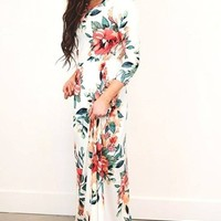 Nora Ivory Floral Maxi Dress