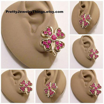 Sarah Coventry Pink Fuchsia Crystal Heart Flower Petals Clip On Earrings Gold Tone Vintage Faceted Clear Round Stones Curved Stem