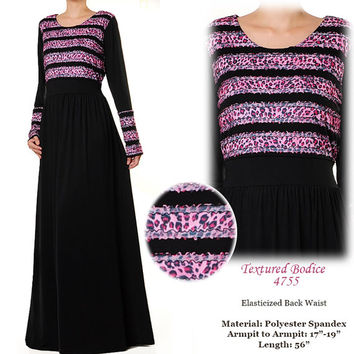 Magenta Textured Bodice BLack Jersey Fall Winter Long Sleeve Abaya Maxi Dress Size S/M - 4755