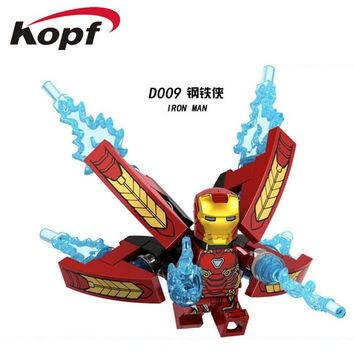 Building Blocks Single Sale Custom Armored Iron Man Suit Ironman Mark 39 Dolls Super Heroes Bricks Action Toys for children D009