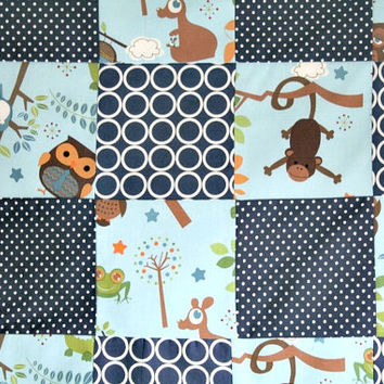 Navy Crib Quilt, Baby Boy Bedding, Boy Patchwork Quilt, Navy Blue Nursery Bedding, Monkey Baby Quilt, Animal Nursery