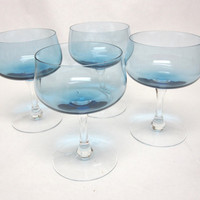 Blue Glasses Coupe Sherbet Glass Set Of Four