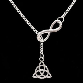 Infinity Celtic Knot Trinity Triquetra Religious Y Lariat Necklace