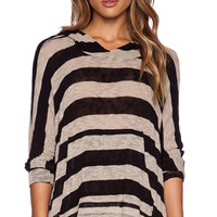 LNA Stripe Cape Hoodie in Tan