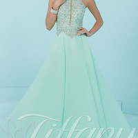 High-Neck Long Prom Dress by Tiffany