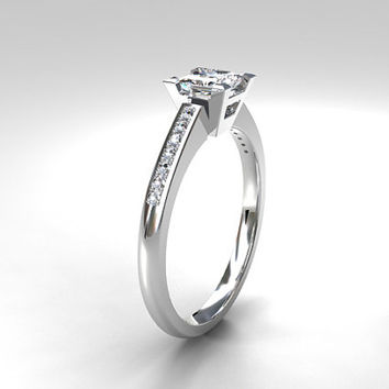 0.35ct Princess cut diamond solitaire ring, diamond engagement ring, white gold ring, unique diamond ring, princess engagement, custom