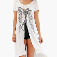 White Abstract Print Short Sleeve with High Slit Long Back Dress