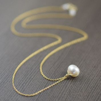 Wire wrapped White freshwater pearl necklace on gold filled chain