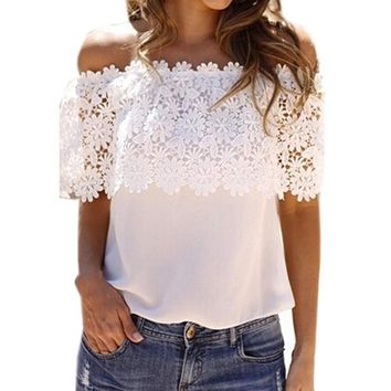 New Women Summer Fashion Off Shoulder Chiffon Shirt Tops Stitching Lace T-Shirt