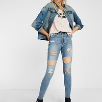 high waisted distressed EXP tech jean legging