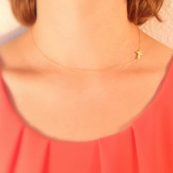 Tiny sideways cross necklace, gold cross necklace, small cross, cross charm, gold necklace, religius necklace, faith necklace, gift