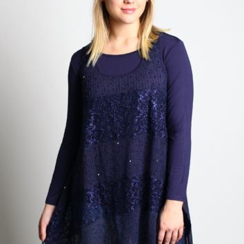 Easel Novelty Lace Layered Tunic