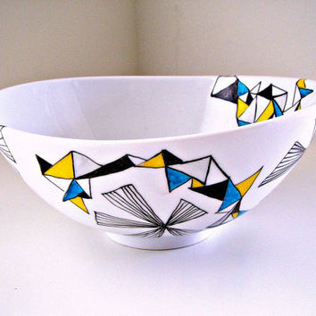 Christmas in July CIJ Sale Ceramic Bowl Modern Geometric Triangles Black White Blue Silver Yellow Turquoise Home Decor Serving Painted