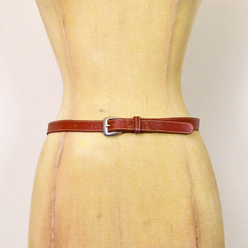 Vintage 70s Brown Belt Brown Leather Belt Skinny Belt Cinch Waist Belt 70s Belt 70s Hippie Belt 70s Hippy Belt 70s Boho Belt Women 26 27