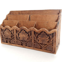 70s Faux Wood Desk Organizer by Lerner - Carved Wood Look Stationary and Card Storage Caddy