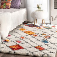 nuLOOM Sot and Plush Moroccan Color Burst Lattice Shag Multi Rug (8' x 10') | Overstock.com Shopping - The Best Deals on 7x9 - 10x14 Rugs