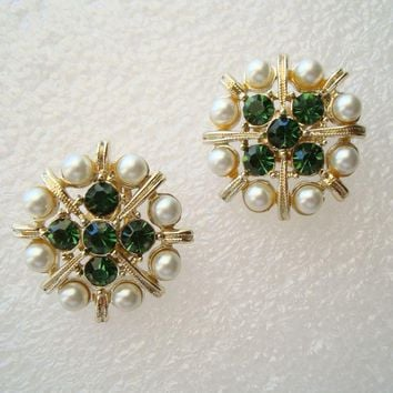 Kramer Clip On Earrings Emerald Green Rhinestones Pearls Vintage Jewelry
