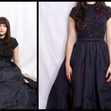 Vintage 1980s Black Glitter Silver Hologram Slinky Formal Prom Cocktail Party Dress Tutu 50s Style Gown / En Francais by Huey Waltzer