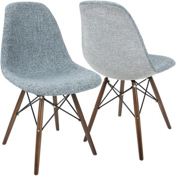 Brady Duo Mid-Century Dining / Accent Chairs, Grey & Smokey Blue (Set of 2)