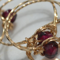 Faceted garnet stone bead ring handmade with square twisted 14 karat gold filled wire January birthstone vintage jewelry