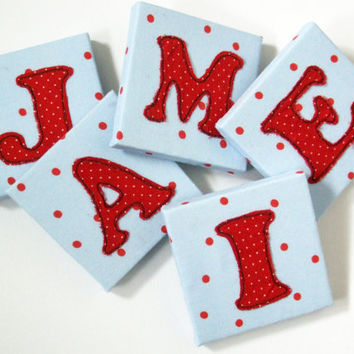 Childrens' Mini Canvas Name Letters - Polka dot spotty fabric - Mini Canvas Nursery Decor - Kids Door Letters - Door Sign - Personalised