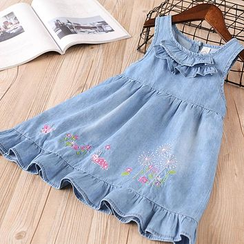 New baby Girl clothes Summer sleeveless denim dress Kids Clothes drawstring Casual solid embroidery ruffles dresses