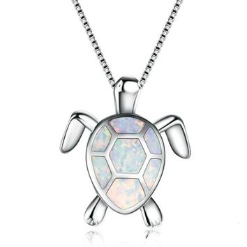 Cute Turtle Shape White Fire Opal 925 Sterling Silver Pendant Necklace