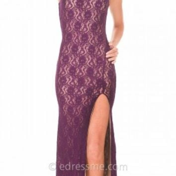 All Over Lace Halter Sheath Prom Gown by Atria